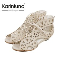 New Big Size 34-43 Fashion Cutouts Lace Up Women Sandals Open Toe Low Wedges Summer Shoes Open Toe Gladiator Platform Woman