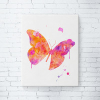 Gallery Wrapped Canvas - Butterfly Art Print, Butterfly Artwork, Butterfly Watercolor, Girly Wall Art, Girls Room Decor, Gifts for her