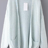 Pale Blue Long Sleeve Pockets Cardigan