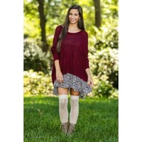 Falling Into Place Sweater-Burgundy