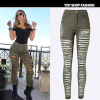 Ripped Boyfriend Hole Slim High Waisted Jeans Trousers Pants
