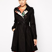 Ted Baker Flared Skirt Trench Coat with Opulent Bloom Collar