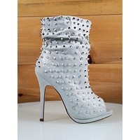 "Liliana Shimmery Silver Peep Toe Spiky Stud 4.75"" High Heel Slouchy Ankle Boot"
