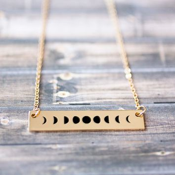 Moon Phases Gold / Silver Bar Necklace