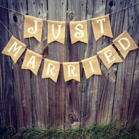 Ginger Ray Hessian Vintage Burlap Just Married Rustic Wedding Decor, Brown