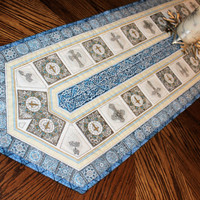 Religious Crosses Quilted Table Runner - Dan Morris Heavenly Fabric Table Runner Quilt - Christmas and Easter Quilt, Quiltsy Handmade