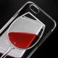 Luxury Liquid Quicksand 3D Red Wine Glass Transparent Case For iPhone 4 4S 5C 5 5S SE 6 6S Plus hard back Cover