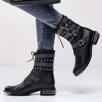 Genuine Leather Ankle Boots Motorcycle Boots