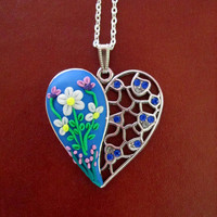 floral heart necklace,polymer clay heart,artisan pendant,ready to ship jewelry,colorful necklace,spring necklace,filigree pendant,blue,lilac