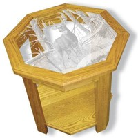 """""""After the Season"""" Deer Etched Glass Art End Tables"""
