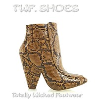 """Vipes Tan Snake Pointy Toe Modern Cowgirl 4"""" Cone Heel Ankle Boots Shoe"""