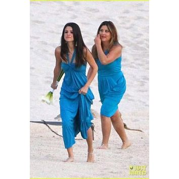 Selena Gomez Bridesmaid Dress Celebrity Blue Wedding Gown