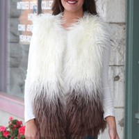 Ombre Fully Faux Fur Vest {Cream/Mocha}