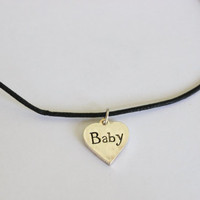 Baby Heart Charm Choker Necklace