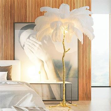 Modern Gold Copper Brass Resin LED Floor Lamps with Feather