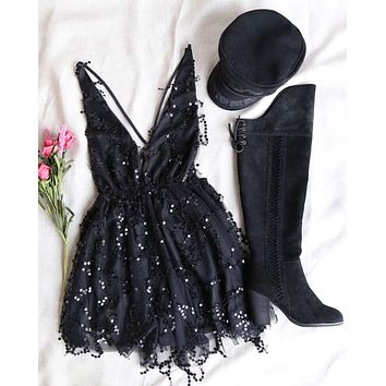 It's Going to be Alright Glitter Sequin Party Mini Dress in Black