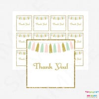 Pink Mint Gold Baby Shower Thank You Tags, Pink Mint Gold Favors Cards, Baby Shower Decorations, Shower Favor Thank Yous, Tassels, TASPMG