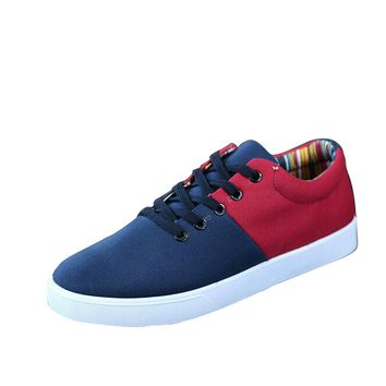 2017 Brand NEW Spring Mens Shoes New Fashion Men's Casual Mixed Colors Shoes Male Patchwork Low Cut Lace-up Canvas Shoes Oxfords