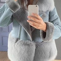 New Light Blue Patchwork Zipper Faux Fur Long Sleeve Tailored Collar Elegant Fashion Wool Coat