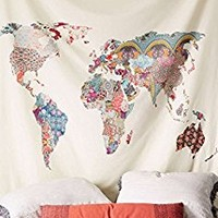 "Floral World Map Tapestry Headboard Wall Art Bedspread Dorm Tapestry,60""x 60"",Twin"