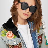 Gucci - Embellished cat-eye acetate sunglasses