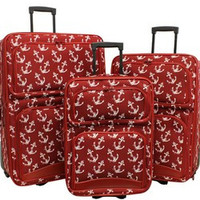 Red Anchor Print 3 piece Luggage Set