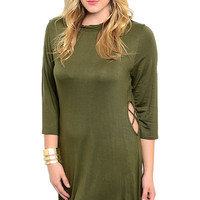 3/4 Sleeve Knit Tunic Dress W/ Side Cutouts