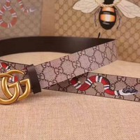 NWT Men's Gucci Big GG Leather Snake Belt Size 95/38