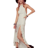 Halter Backless Lace Slit Maxi Dress