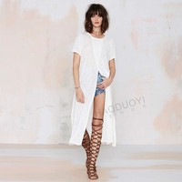 Cross Front Short Sleeve Loose Mid Dress with Slits - White