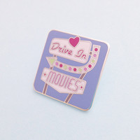 Drive In Movies Retro Sign Enamel Pin Badge, Lapel Pin, Tie Pin