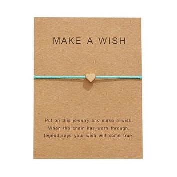 """Make A Wish"" Gold Heart Note Card Teal Blue String Bracelet"