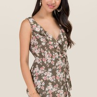inah Floral Ruffle Wrap Top