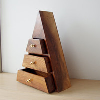 Vintage triangle box, wooden polished jewellry box of triangle shape with three drawers, extraordinary shape jeweelry box, late eighties