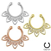 Plated Fake Septum Clicker Clip On Non Piercing Nose Ring Hoop Cartilage Septum Hanger Heart 3/8""