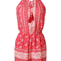 Red and White Printed Halter Romper