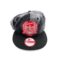 New Era x Secret Society Red Eye Logo Grey Denim Leather Strapback Hat