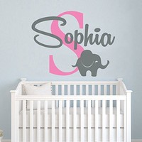 Elephant Name Wall Decal Vinyl Decals Sticker Custom Name Decals Personalized Baby Girl Name Elephant Decor Nursery Baby Room Art Decor x90