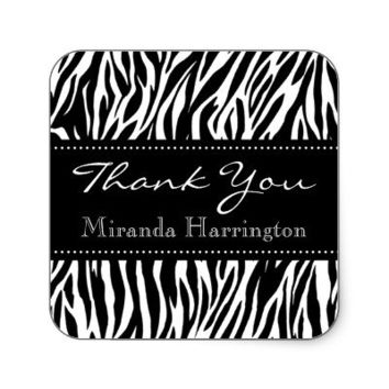 Black and White Zebra Bridal Shower Thank You Square Stickers from Zazzle.com