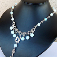 Opalite Moonstone Necklace, Gemstone Necklace, Tibetan Style Necklace, Charm Necklace