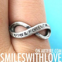 SALE Now and Forever Infinity Loop Bow Ring Silver Size 6 and 7 ONLY