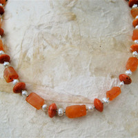 SALE Hammered Carnelian Necklace Orange and Cream with Freshwater Pearls and Sponge Coral Gemstone Jewelry