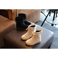New Stylish 2018 Autumn Winter Fashion Children Shoes Girls Pu Leather Lace-up Baby boots Sneakers Zip High top Boots