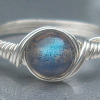 Labradorite Ring- Custom Sized in Sterling Silver Wire Wrapped