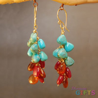 """Clusters of turquoise, ruby, and mandaringarnet, 1-1/2"""" Earring Gold Or Silver"""