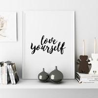 "Justin Bieber song Justin Bieber album Justin Bieber Art Print ""Love Yourself"" Typographic Print Gift idea Home decor song lyrics Wall art"