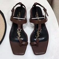 YSL Saint Laurent new large logo letters ladies sandals beach slippers Shoes Coffee