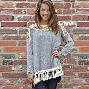 Gray Cutout Lace Fringed Sweater