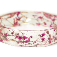 Jewelry made with Real Flowers - Real Flower Jewelry - Pink Flower Jewelry - Flower Jewelry  - Pink Bracelet - Pink Jewelry