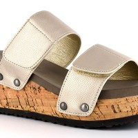 Corkys New-Way Gold Wedge Sandals